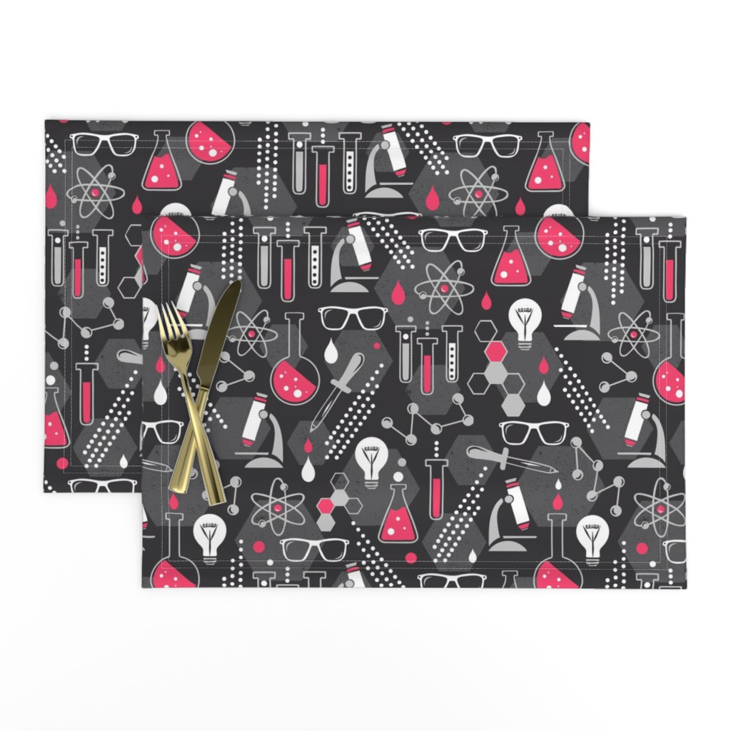 Lamona Cloth Placemats featuring Chemistry Lab - Black & Pink by heatherdutton
