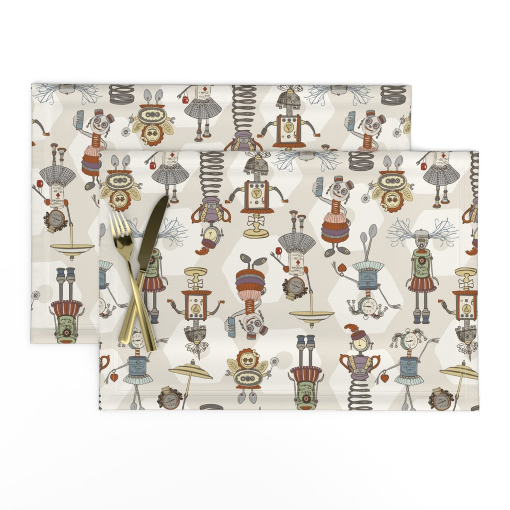 Lamona Cloth Placemats featuring All Put Together - Medium - H White, Neutral by fernlesliestudio