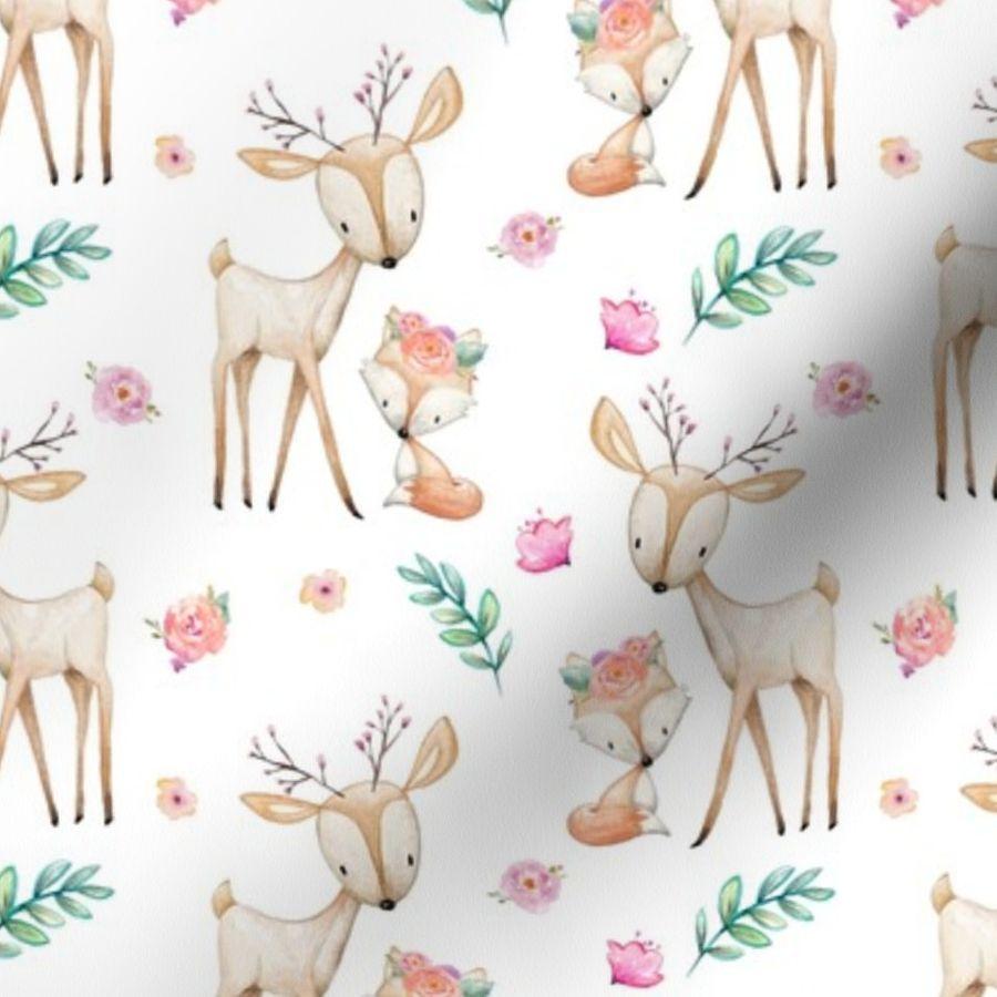 Sweet Deer Fox Pink Flowers