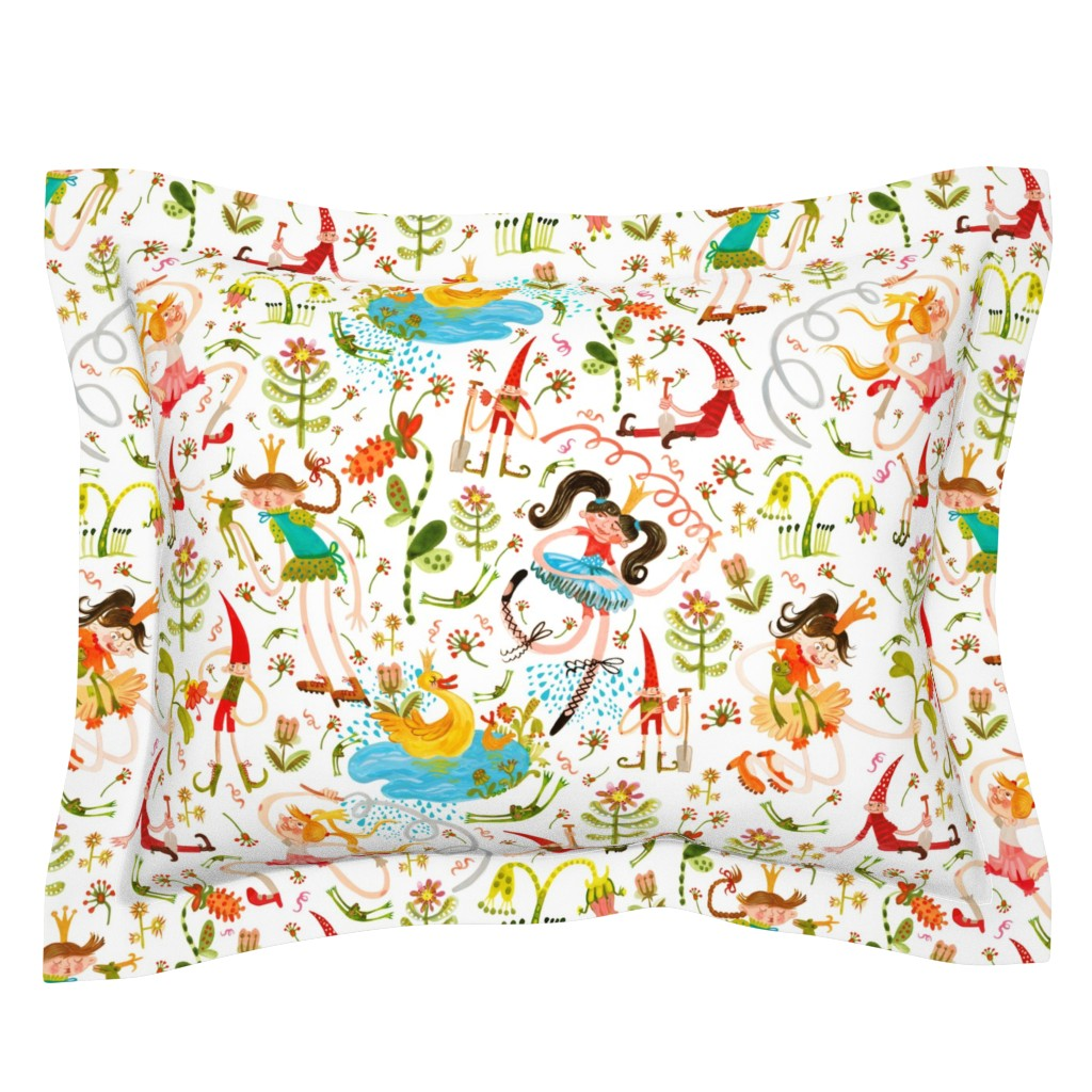 Sebright Pillow Sham featuring Princess, Frogs and lazy Dwarfs by pikku_susi