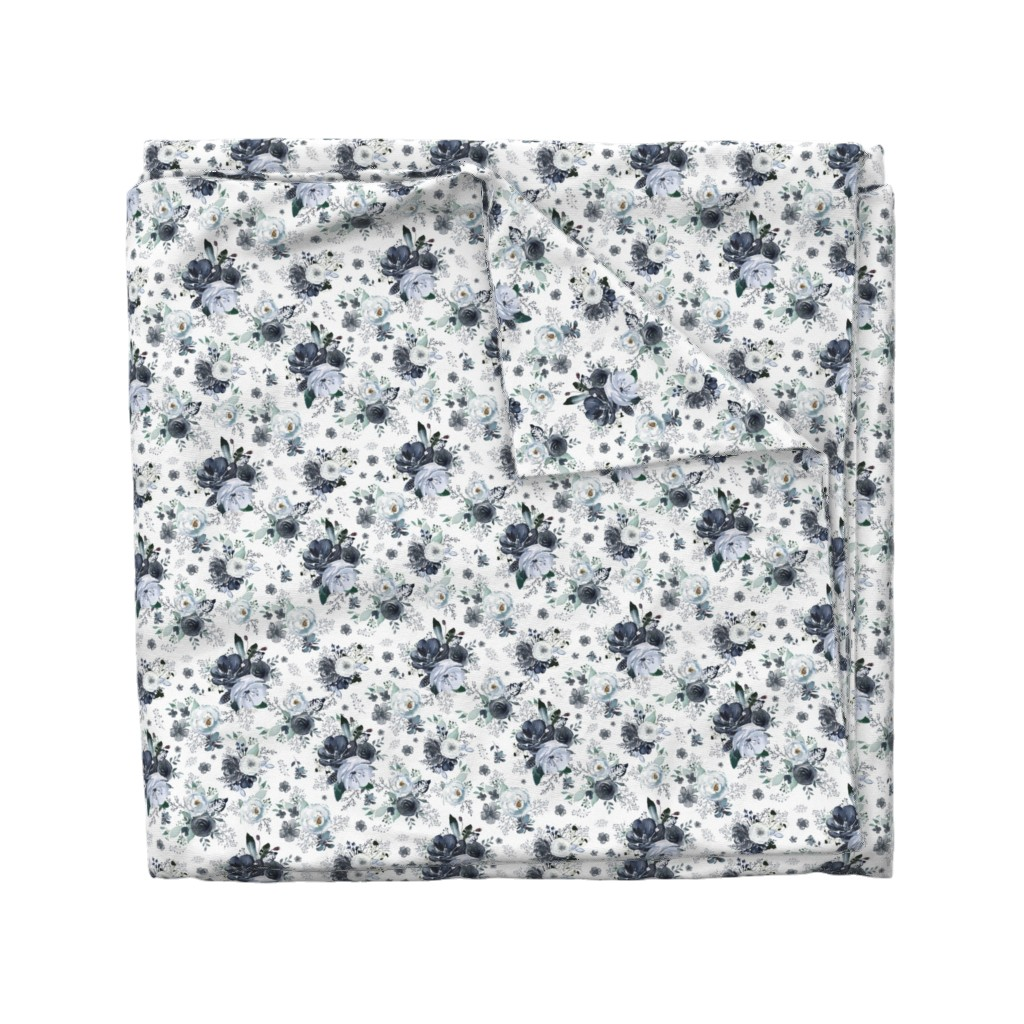 "Wyandotte Duvet Cover featuring 8"" Navy Black and White Florals - White by shopcabin"