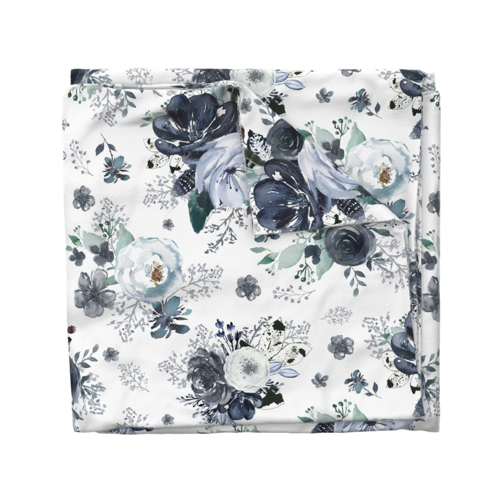 """Wyandotte Duvet Cover featuring 36"""" Navy Black and White Florals - White by shopcabin"""