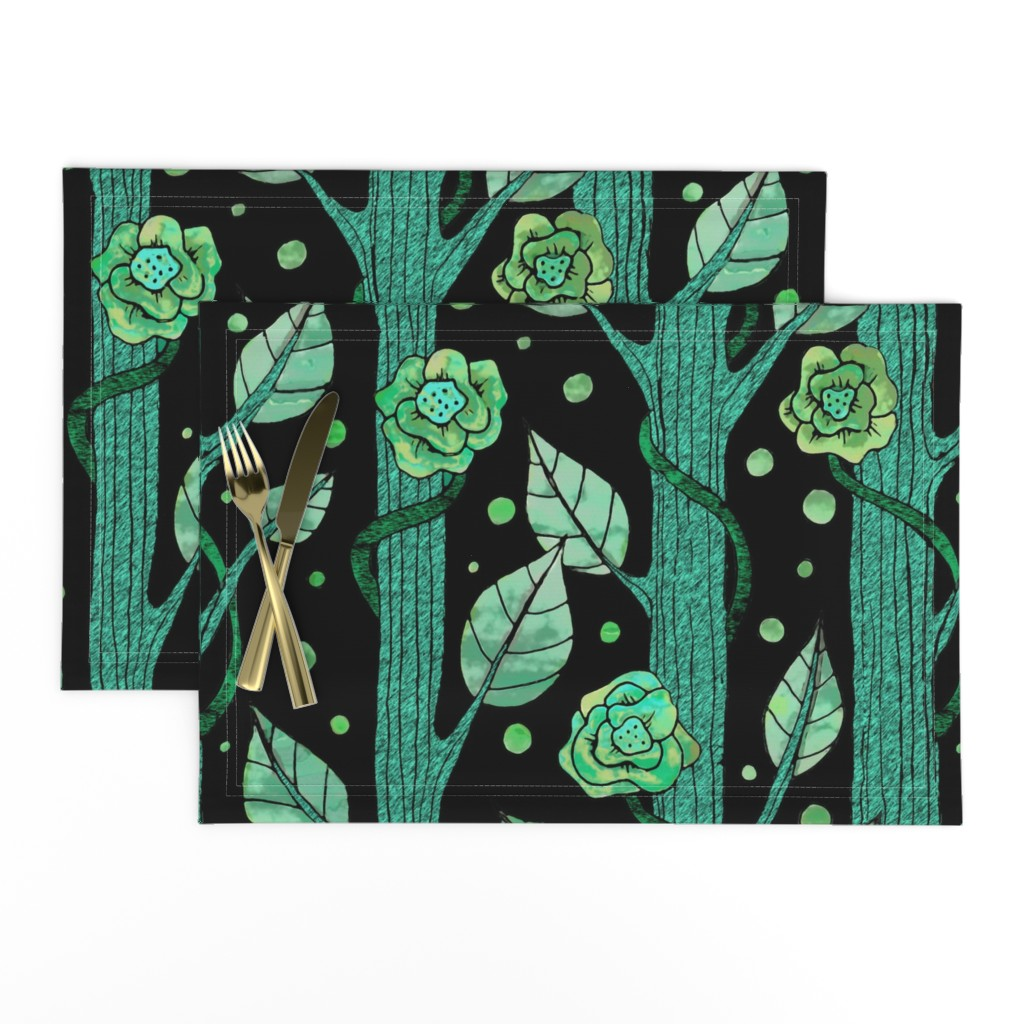 Lamona Cloth Placemats featuring floral emerald forest by lucybaribeau