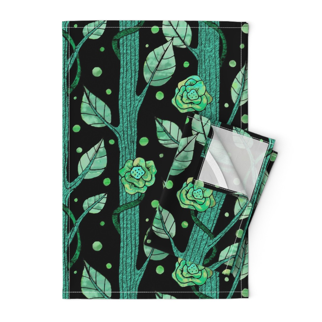 Orpington Tea Towels featuring floral emerald forest by lucybaribeau