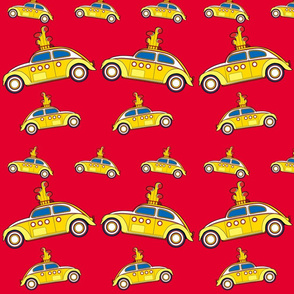 yellow bug fabric 07 red
