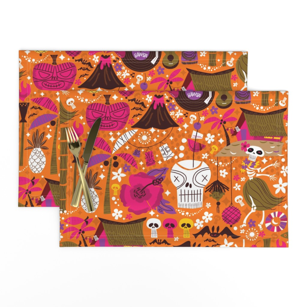 Lamona Cloth Placemats featuring Hulaween MidCentury Style  by cynthiafrenette