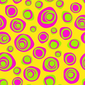 Perfectly imperfect circles hot pink and lime -ch