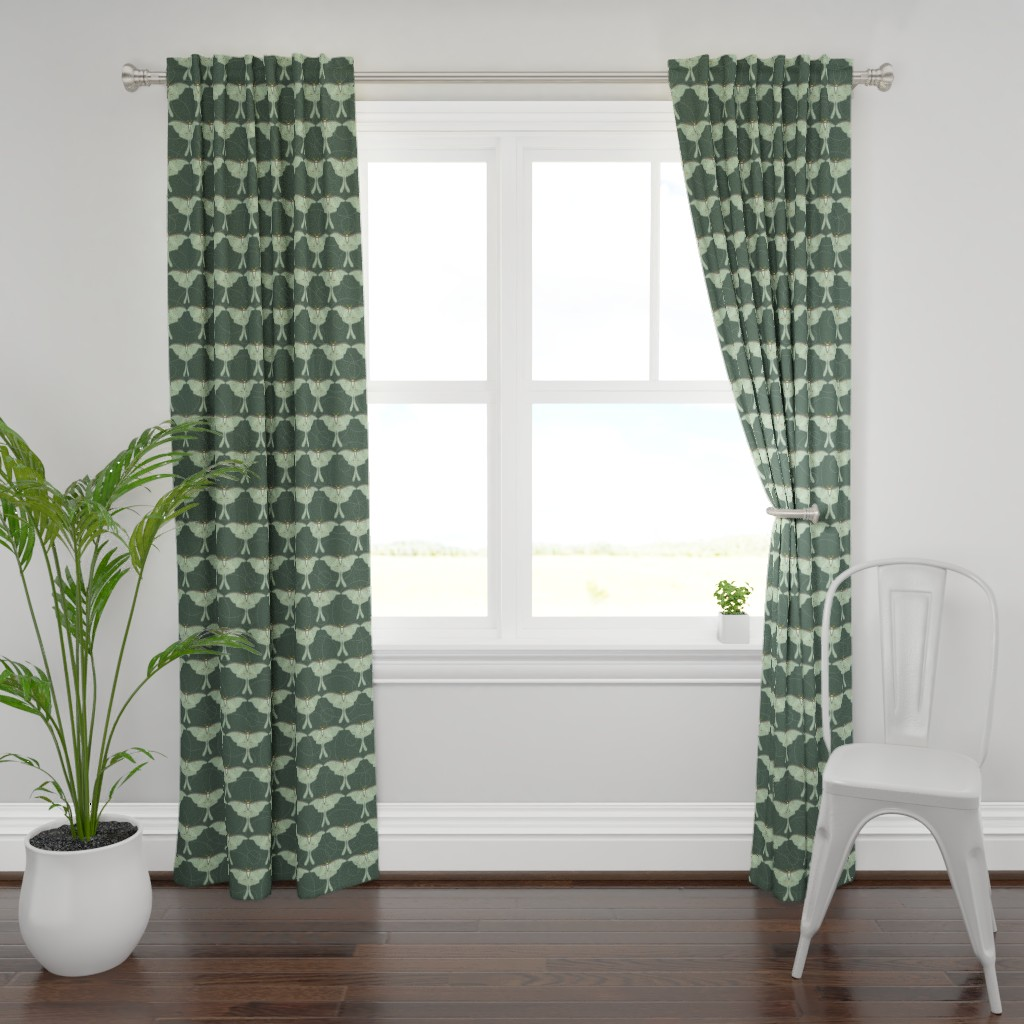 Plymouth Curtain Panel featuring luna moth pattern XLG by cindylindgren
