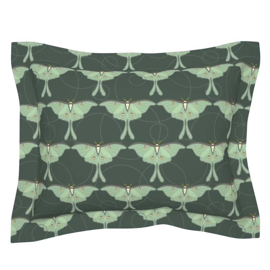 Sebright Pillow Sham featuring luna moth pattern XLG by cindylindgren
