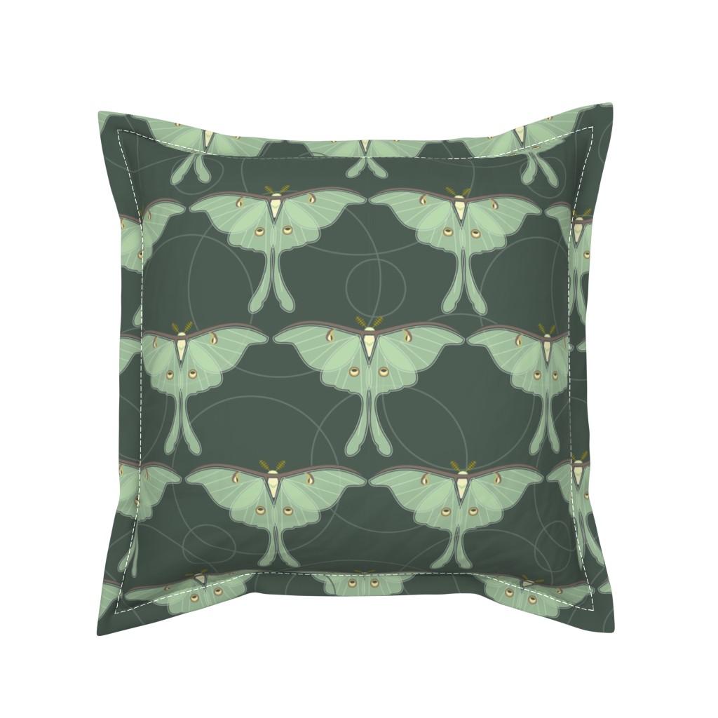 Serama Throw Pillow featuring luna moth pattern XLG by cindylindgren