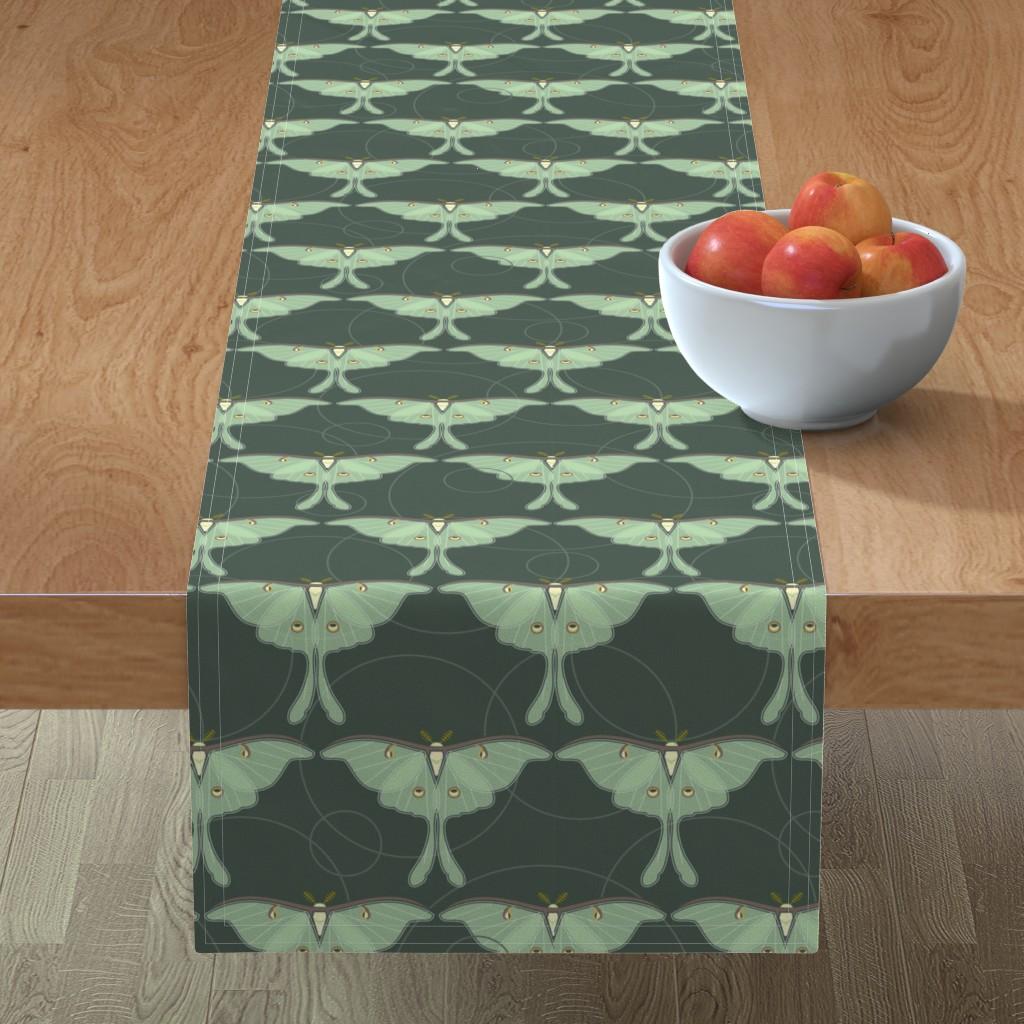 Minorca Table Runner featuring luna moth pattern XLG by cindylindgren