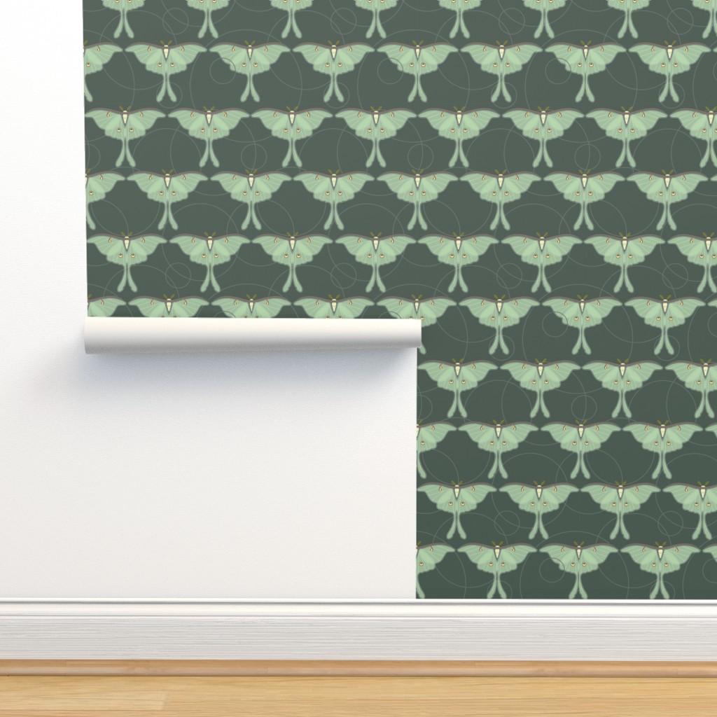 Isobar Durable Wallpaper featuring luna moth pattern XLG by cindylindgren