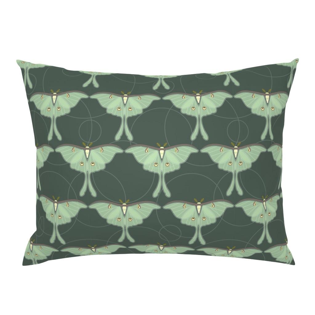 Campine Pillow Sham featuring luna moth pattern XLG by cindylindgren