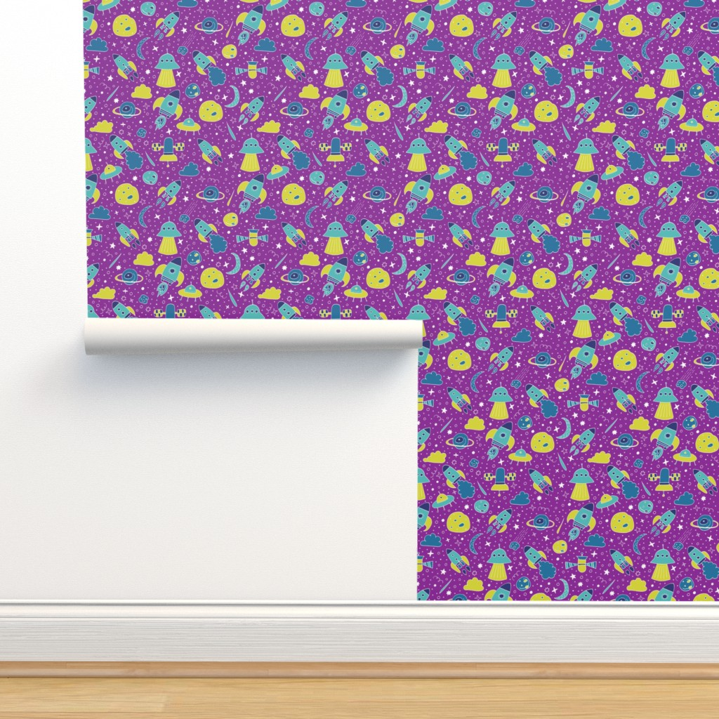 Isobar Durable Wallpaper featuring P #87 SPACE - We are going exploring! (pink background) by irenesilvino
