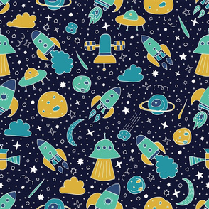 P #90 SPACE - We are going exploring! (blue & yellow)