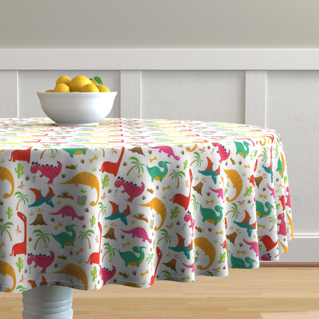 Malay Round Tablecloth featuring Cute dinosaurs by irynmerry