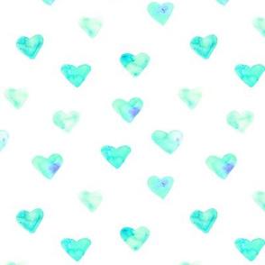 Mint watercolor heart || love pattern for nursery