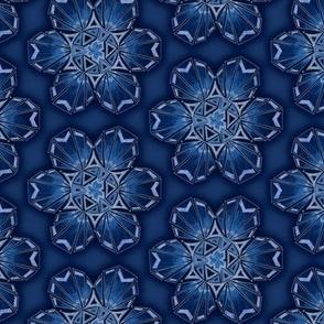 snowflake hexagons #2 - blue satin