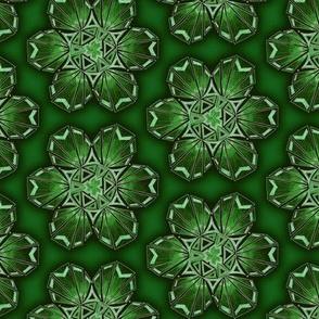 snowflake hexagons #2 - green satin