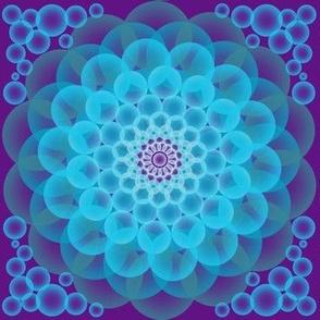 Purple blue floral mandala