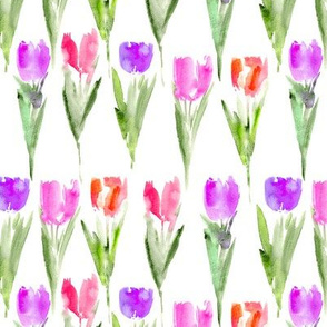 Watercolor tulips #2 || floral pattern