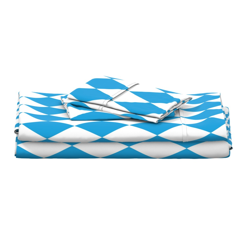 Langshan Full Bed Set featuring Oktoberfest Bavarian Blue and White Large Diagonal Diamond Pattern by paper_and_frill