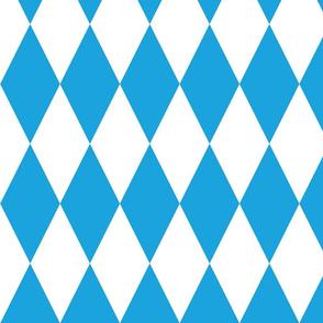 Oktoberfest Bavarian Blue and White Large Diagonal Diamond Pattern