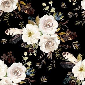 """18"""" Autumn Harvest Flowers - Black"""