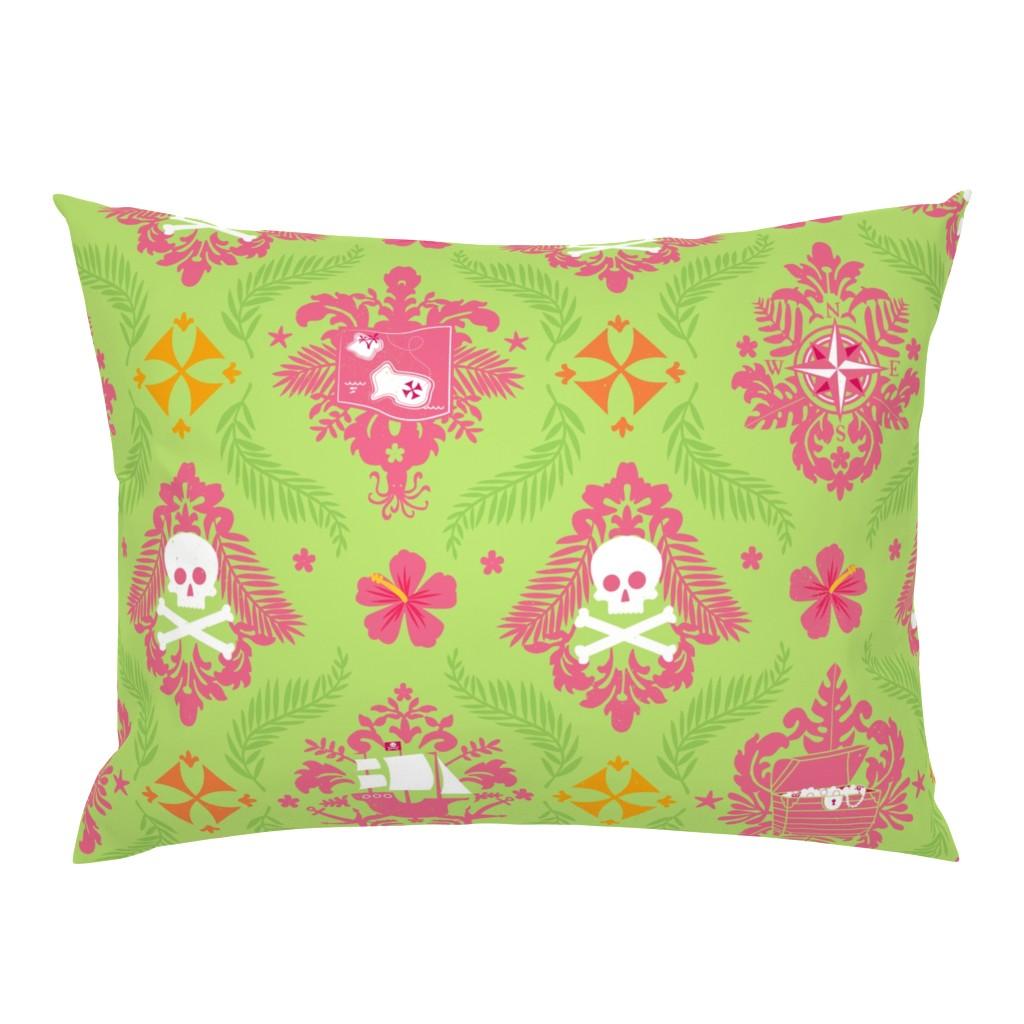 Campine Pillow Sham featuring Pirate Queen Damask by lellobird