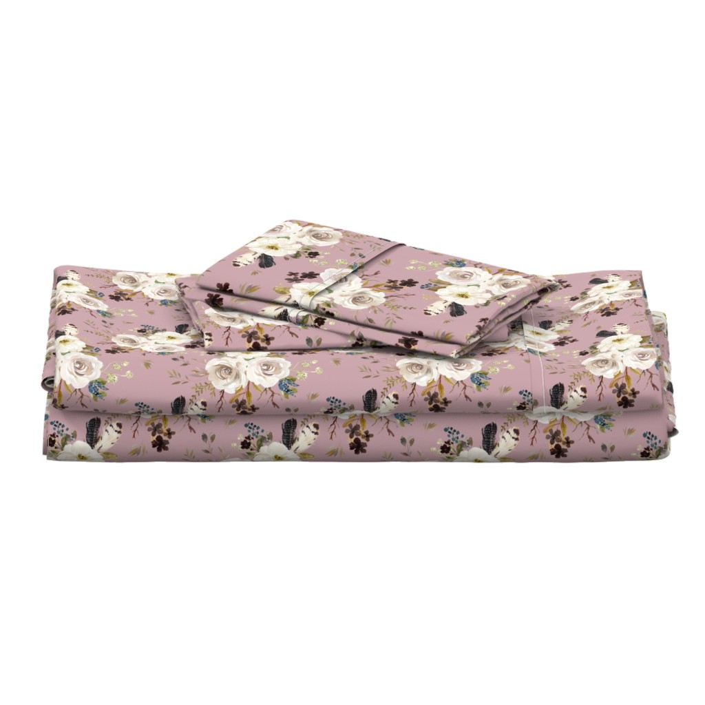 """Langshan Full Bed Set featuring 8"""" Autumn Harvest Flowers - Mauve by shopcabin"""