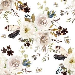 "18"" Autumn Harvest Flowers - White"