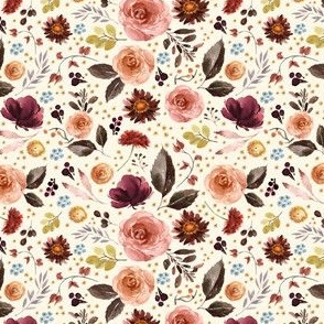 """4"""" Boone Fall Florals - Ivory"""