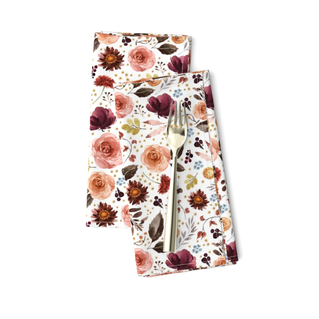 """Amarela Dinner Napkins featuring 8"""" Boone Fall Florals - White by shopcabin"""