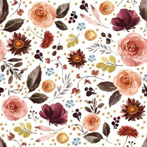"""8"""" Boone Fall Florals - White"""