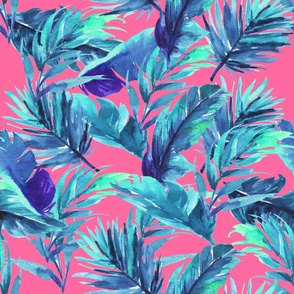 """36"""" Aqua Leaves - Bright Pink"""