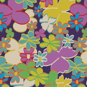 Bright Blooms on Dark Purple