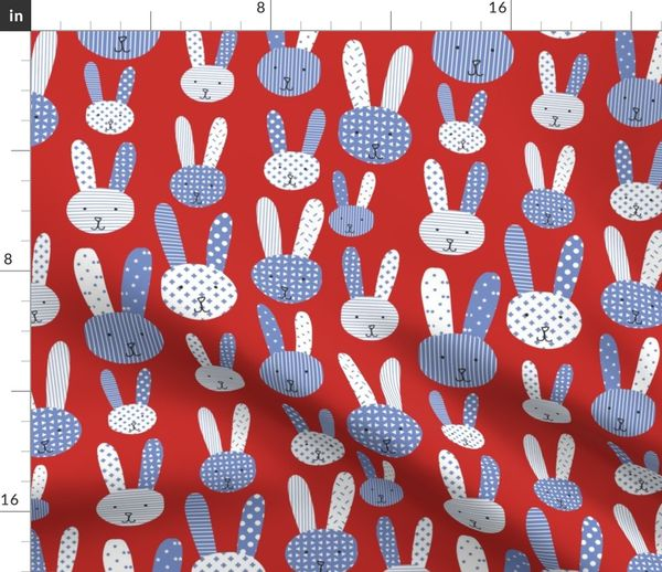 Fabric By The Yard Bunnies Blue And White On A Red Background Collage Bunnies Doodle Bunny Blue Rabbit Cute Babies And Children S Fabric