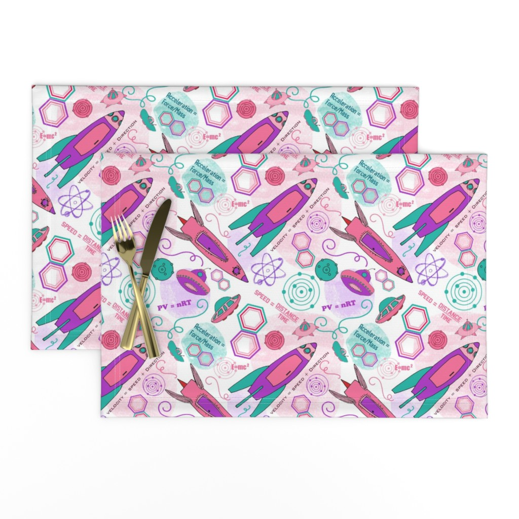 Lamona Cloth Placemats featuring Physics girl, medium by palifino