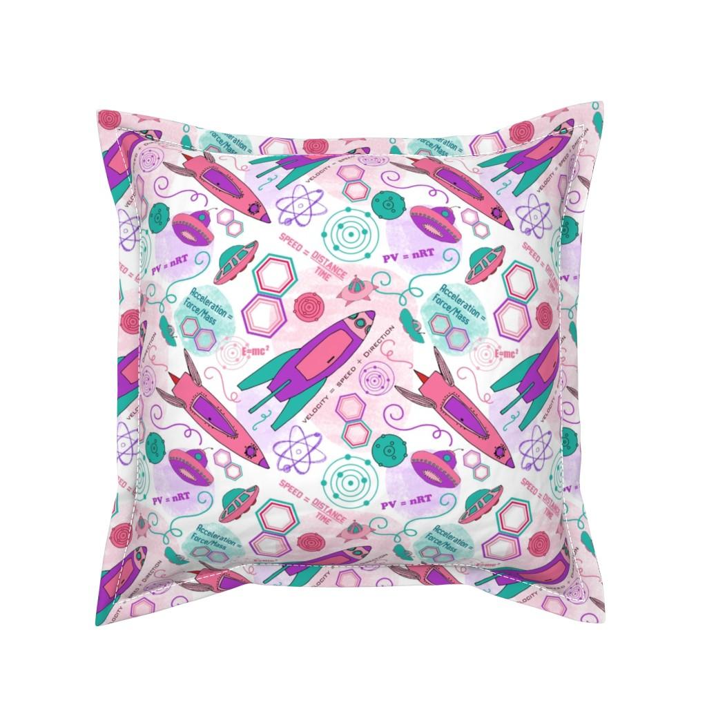 Serama Throw Pillow featuring Physics girl, medium by palifino