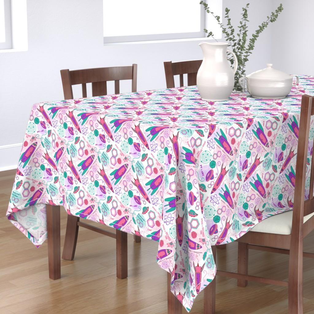 Bantam Rectangular Tablecloth featuring Physics girl, medium by palifino