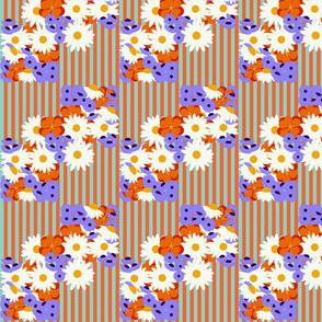 Summer Floral-aqua/orange stripe