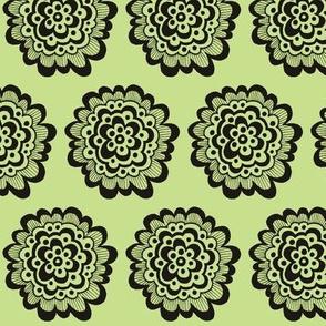 Flor - Black on Celery Green