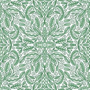 """Green Leaf Doodle Medallion (Med 9"""")"""