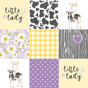 Little Lady//Love you till the cows come home Yellow/Purple - Wholecloth Cheater Quilt