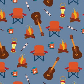 Camping print. Camping chair, campfire, coffee mug, marshmallow, camping lantern, and guitar on a blue background.