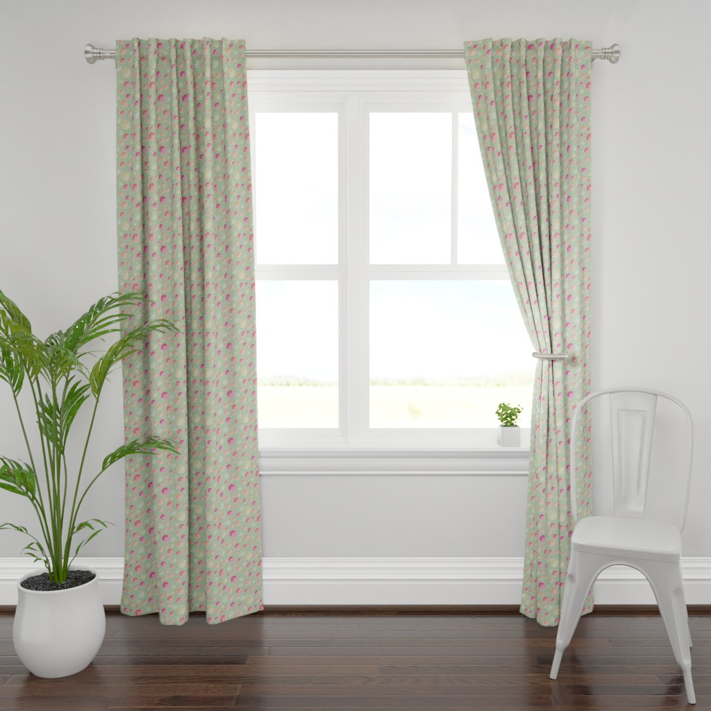 Plymouth Curtain Panel featuring colourful citrus slices on green by colorofmagic
