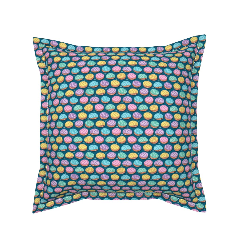 Serama Throw Pillow featuring Kawaii Mexican conchas // tiny scale // turquoise background by selmacardoso