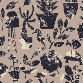 Cactus, octopus, seahorses, turtle