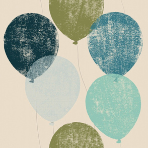 Jumbo scale balloons artichoke, teal, dark blue, turquoise, periwinkle