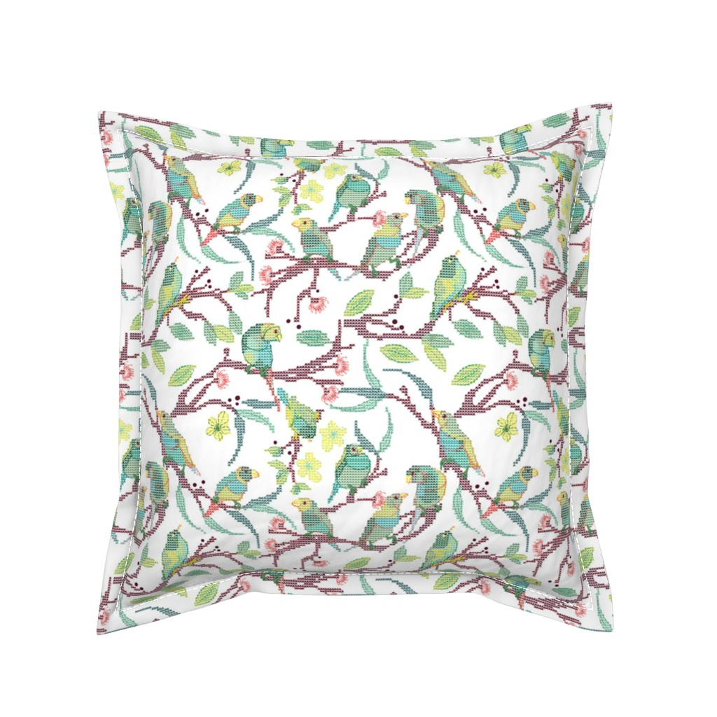 Serama Throw Pillow featuring Forest Birds Cross Stitch daylight by colour_angel_by_kv